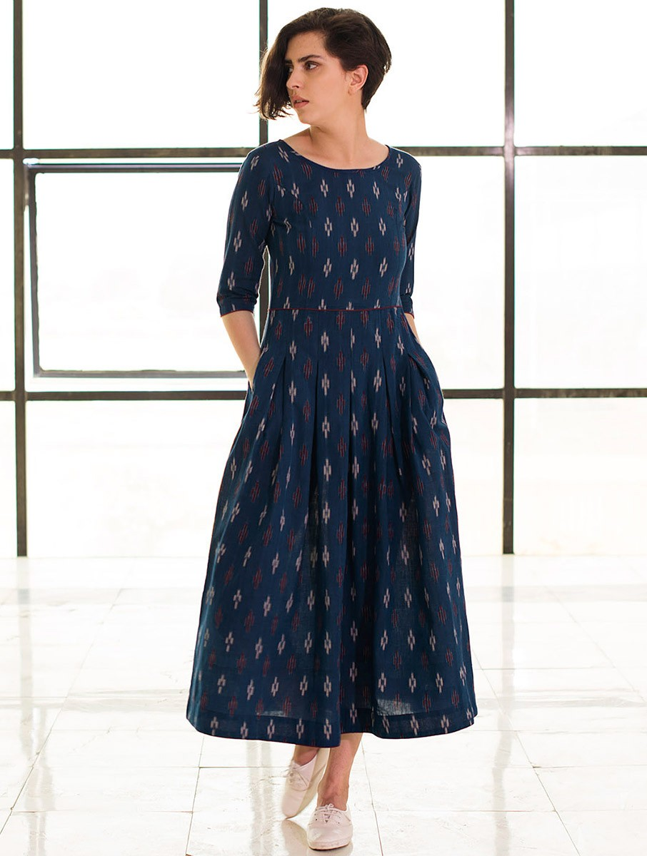 Buy Blue Box Pleated Handloom Ikat Cotton Dress Online At
