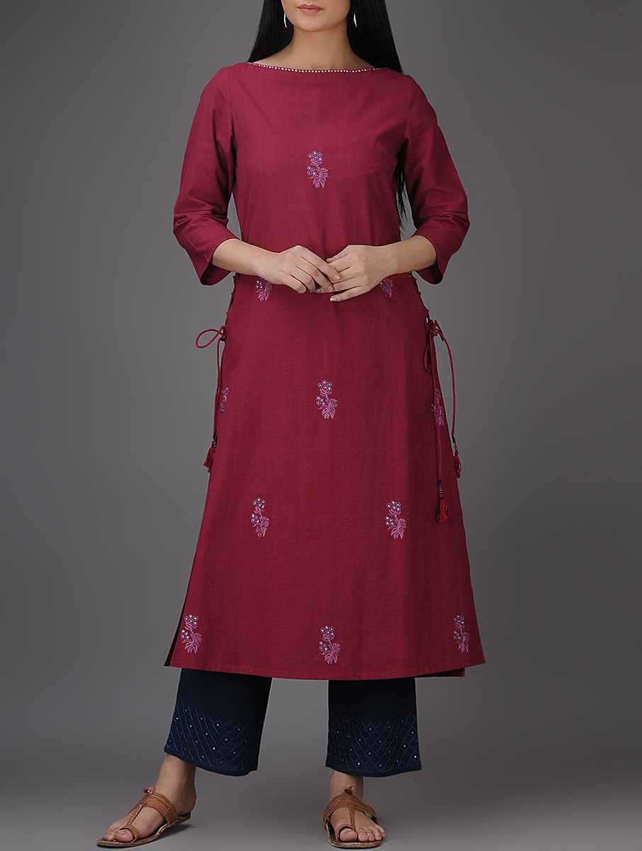 Buy Maroon Thread Embroidered Boat Neck Mangalgiri Cotton