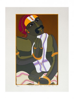Thota Vaikuntam's Limited Edition Telangana Pandit - III Serigraph on Paper- 20in x 14in