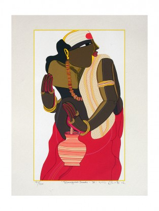 Thota Vaikuntam's Limited Edition Telangana Pandit - IV Serigraph on Paper- 20in x 14in