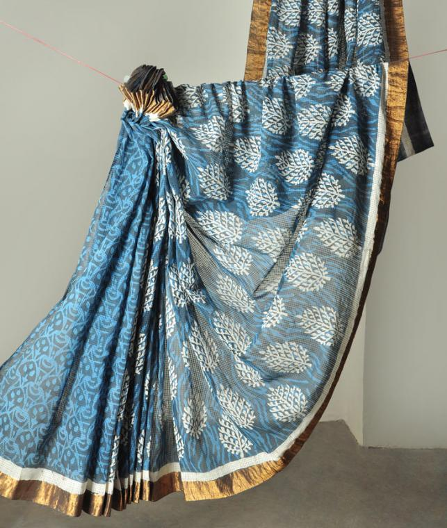 Buy Naturally Dyed Sarees Hand Block Printed Sarees From